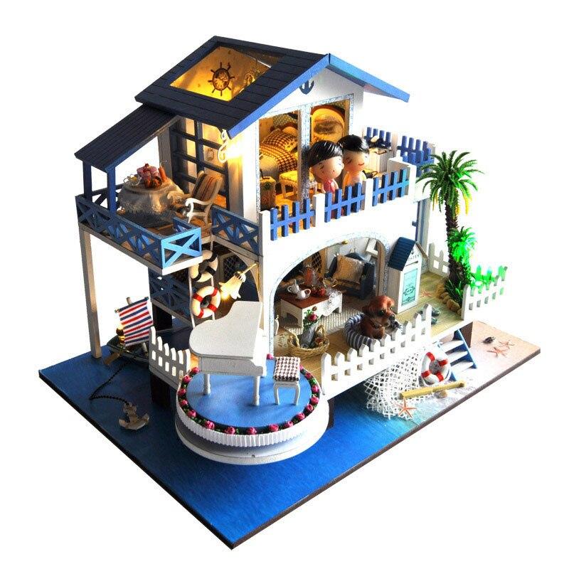 Assembler bricolage maison de poupée jouet en bois Miniatura maisons de poupée Miniature maison de poupée jouets avec des meubles Led lumières cadeau d'anniversaire