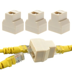 3Pcs/set 1 To 2 Way LAN Ethernet Network Cable RJ45 Female Splitter Connector Adapter for Computer White High Quality