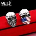 Beier new store arrival high quality American flag mask ring fashion biker heavy skull 316L Stainless Steel ring   BR8-286