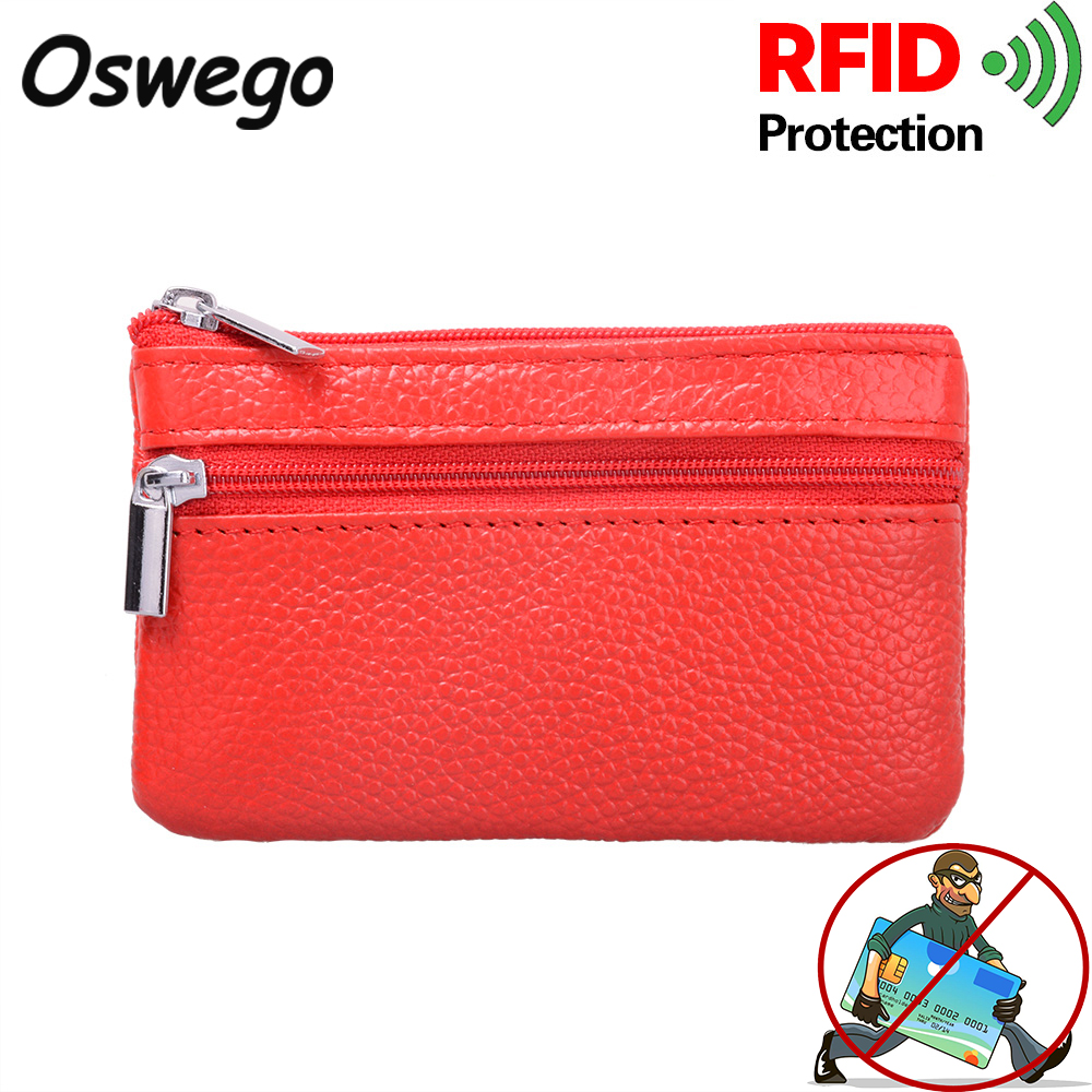 Genuine Leather RFID Blocking Coin Purse Card Holder Bank Credit Card Case Anti-Theft Material Small Wallet Zipper with Key Ring