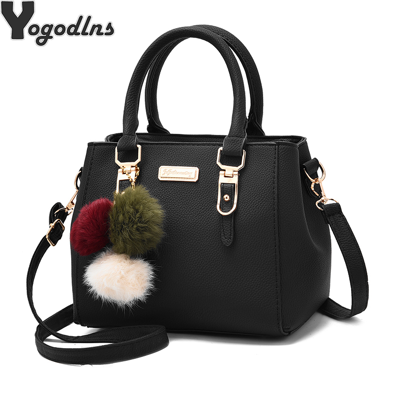 Fashion women hairball ornaments totes solid high quality handbag hotsale party purse ladies messenger crossbody shoulder bags-in Shoulder Bags from Luggage & Bags