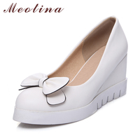 Meotina Platform Shoes Women Pumps High Heels Wedges Spring 2018 Pumps Bow Sweet Party Shoes White Slip On Round Toe Shoes Blue