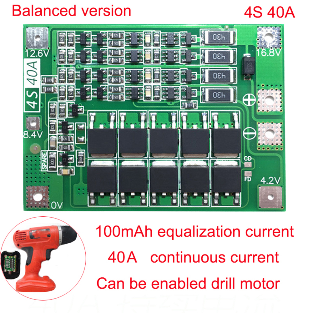 Best <font><b>4S</b></font> <font><b>40A</b></font> 12.8V 14.4V 18650 <font><b>LiFePO4</b></font> <font><b>BMS</b></font>/ lithium iron battery protection board with equalization start drill Standard/Balance image