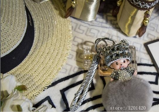 Monchichi llavero de piel de conejo Real Pom Pom cristal Monchichi muñecas llavero de la señora del anillo colgante del coche del bolso venta al por mayor lindo del encanto del bolso