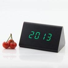 Creative fashion gift sensored wooden Alarm Clock Temp Sounds Control Smart Watch LED desktop Digital Alarm Clock Home BedRoom
