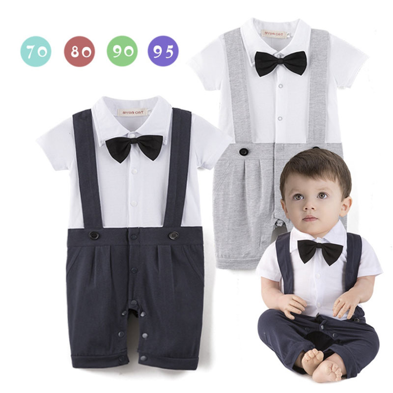 US NEWBORN Baby Boy Formal*Party*Wedding* Bow Romper Bodysuit Jumpsuit Clothes
