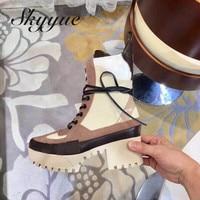 SKYYUE Одежда высшего качества Geneuine кожаные римские женские сапоги на шнуровке пикантная обувь на платформе 5,5 см каблук женские ботильоны зим
