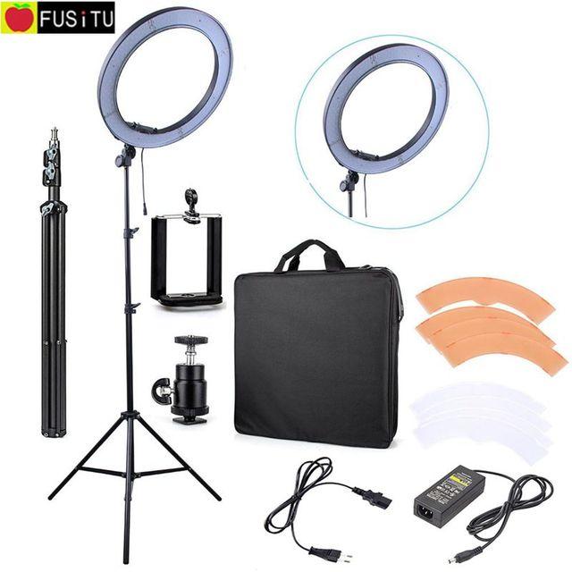 "240 LED 18"" Stepless Adjustable LED Ring Light Camera Photo Video 240pcs LED 5500K Dimmable + 2 Color Filter + 2M light stand"
