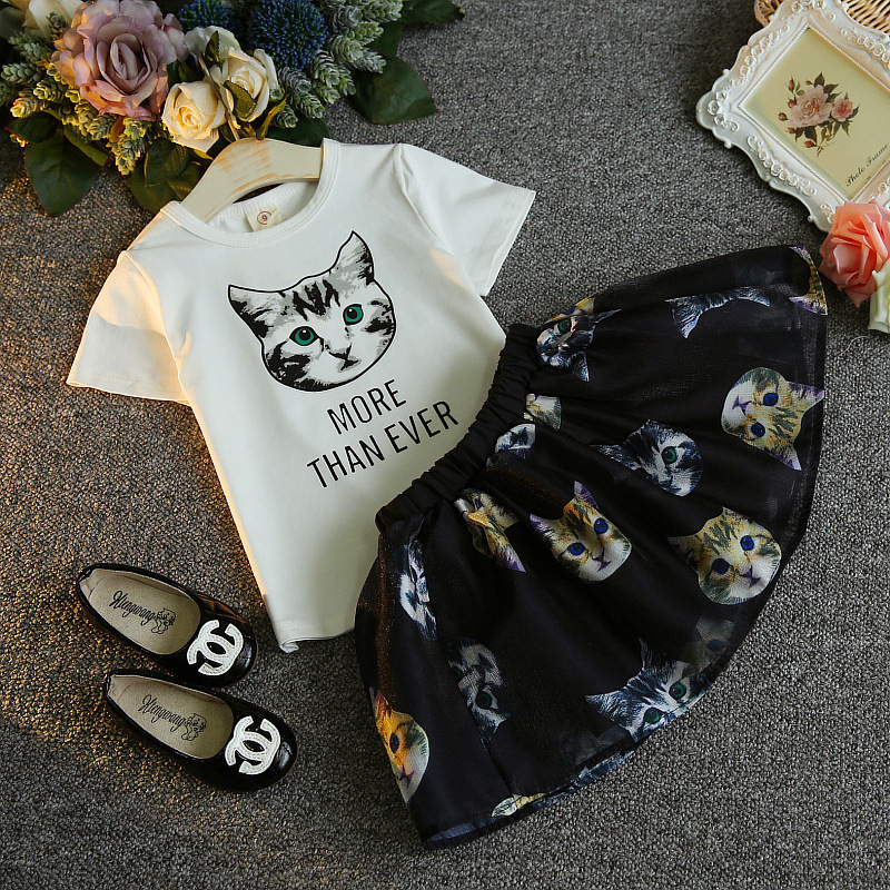 2017 Fashion Spring summer Boutique Outfits Baby clothes Girls Sets Cute cat Print tshirt Tops + Tutu Skirts suits kids clothing