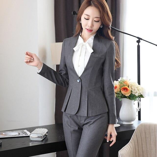 7e6710cf4 Alto grado de Tela De Viscosidad de Dos Piezas Pantalón Traje Formal  Señoras De La Oficina de La Boda Diseños de Uniforme Gris de Las Mujeres ...