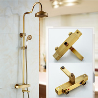 Wall Mount 8 Rain Antique Thermostatic Shower Faucet Mixers with Handshower Adjust Height Swive Tub Spout Shower Water Taps