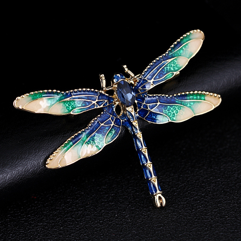 Dragonfly Brooches for Women Green Enamel Insect Crystal Dragonfly Brooch Men Suit Dress Pins and Brooches 网 红 小 姐姐