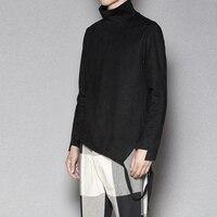 High end three dimensional tailoring imitation deer velvet leather long sleeved Slim shirt high collar trend T shirt groot