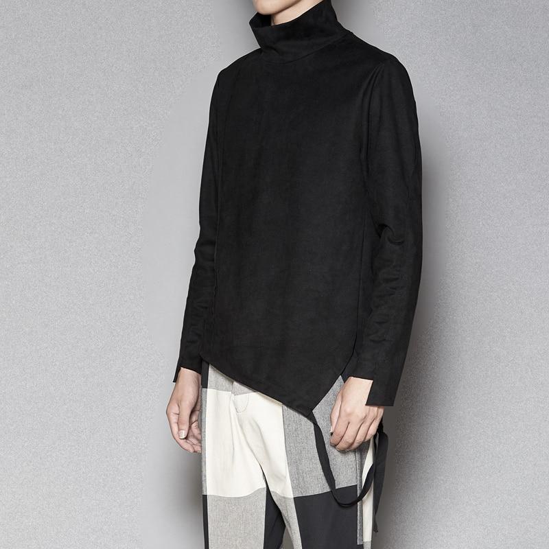 Tailoring Imitation Velvet Leather Long sleeved Slim Shirt High Collar Trend T shirt Stranger Things T Shirt Streetwear Hip Hop