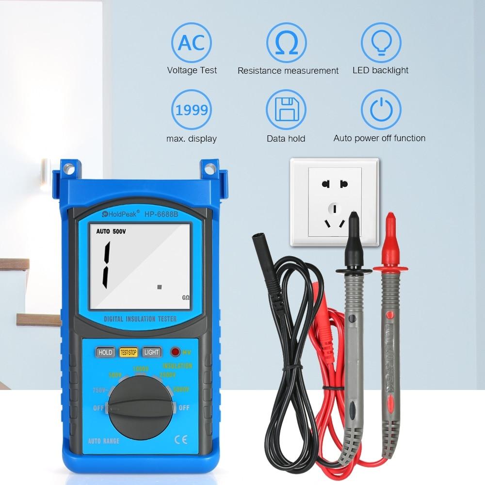 Testeur de résistance à l'isolation numérique gamme automatique Megohm mètre mégger megohmmètre DC500V/1000 V/2500 V/5000 V voltmètre