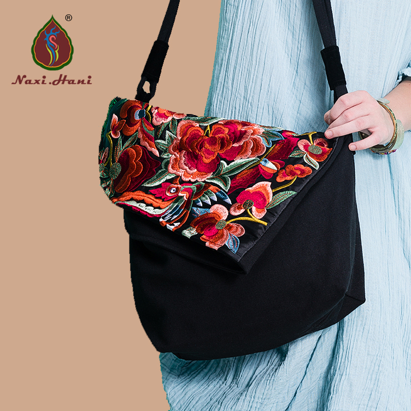 Naxi.Hani Original Classic black flower pattern embroidery canvas Women handbags Fashion vintage casual shoulder messenger bags цена 2017