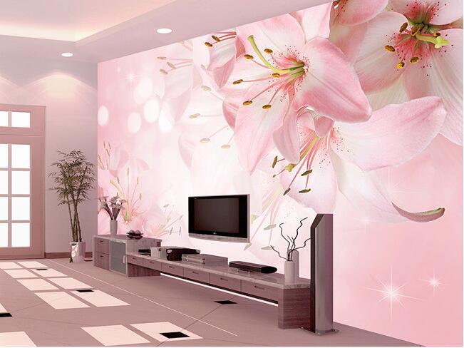 70a7abc5c 3d خلفيات جدارية مخصصة غير المنسوجة 3d غرفة خلفيات الزهور زهرة الزنبق إعداد  الجدار الديكور صور خلفيات للجدران 3d