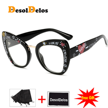 Black printed letters sexy fashion eyewear cat eye designer brand luxury big glasses frames for women female oculos
