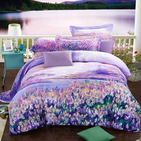 Purple flower printed Bed Sheet Duvet Cover set with pillowcases Twin Full Queen King Sizes Purple lavender bedding set