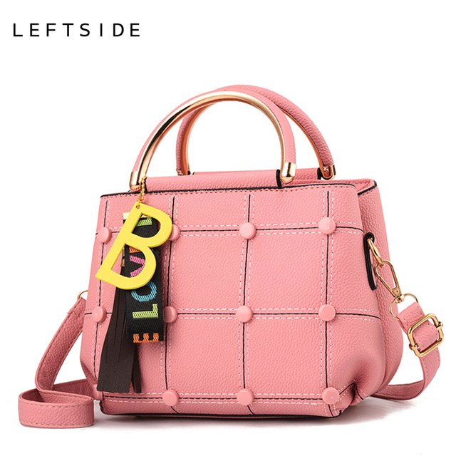 LEFTSIDE Button Grid Handbags For Women 2018 Leather Crossbody Bags Lady Totes  Bag With Tassel Pendant Small Woman Shoulder Bag 9b40b73c299a9