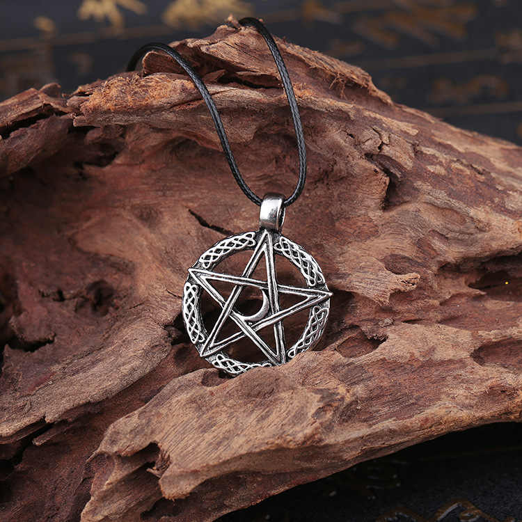 Titanium steel Retro Vintage Silver Norse Vikings Amulet Pendant Necklace Celttic Pentagram Pentacle Star Moon Pendant Necklace