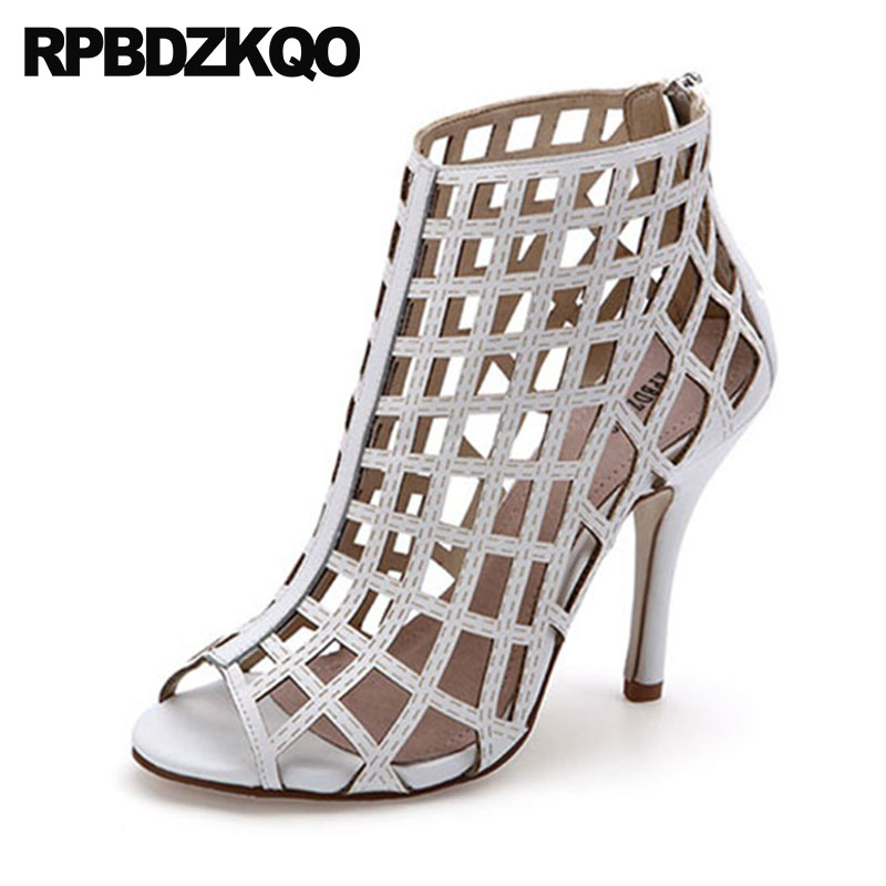 Booties Summer Sandals Ankle Stiletto High Heel Peep Toe White Designer Shoe Women Luxury 2018 Boots Sexy Brand Big Size Cut Out