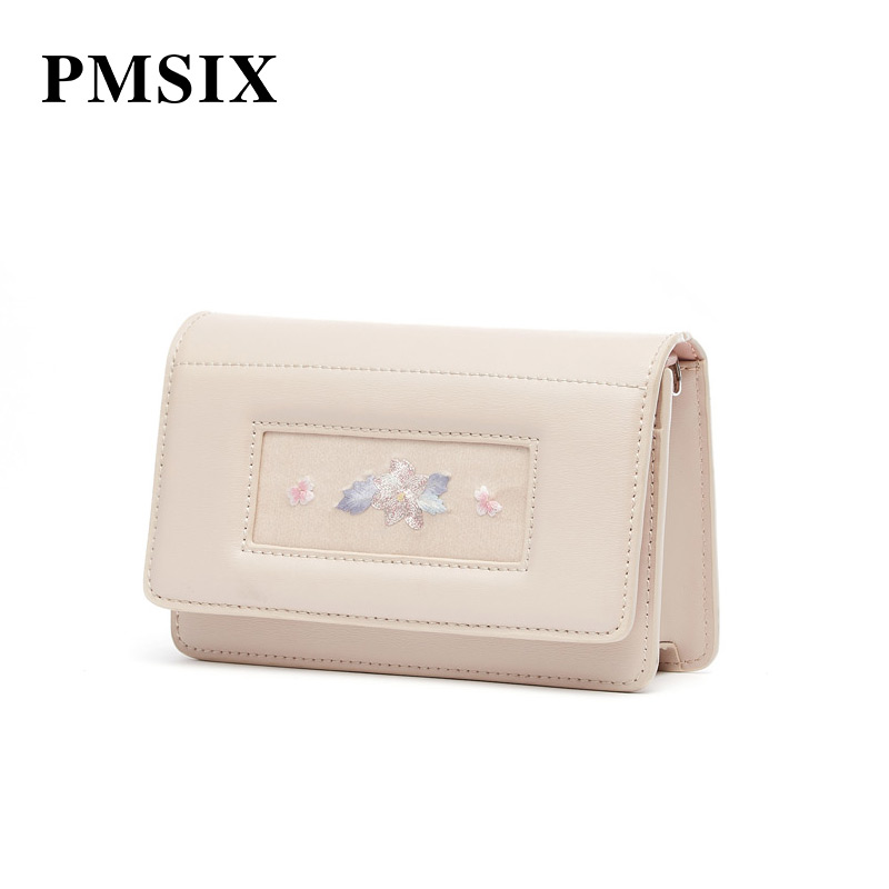 PMSIX Women Shoulder Bag 2019 Casual Embroidery Flowers Simple Long Straps Small Flaps Brand Designer Handbags for Women