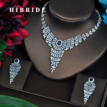 HIBRIDE Sparkling Fashion Design Blue CZ Jewelry Sets For Women Earring Necklace Set Wedding Dress Accessories Party Gifts N-473