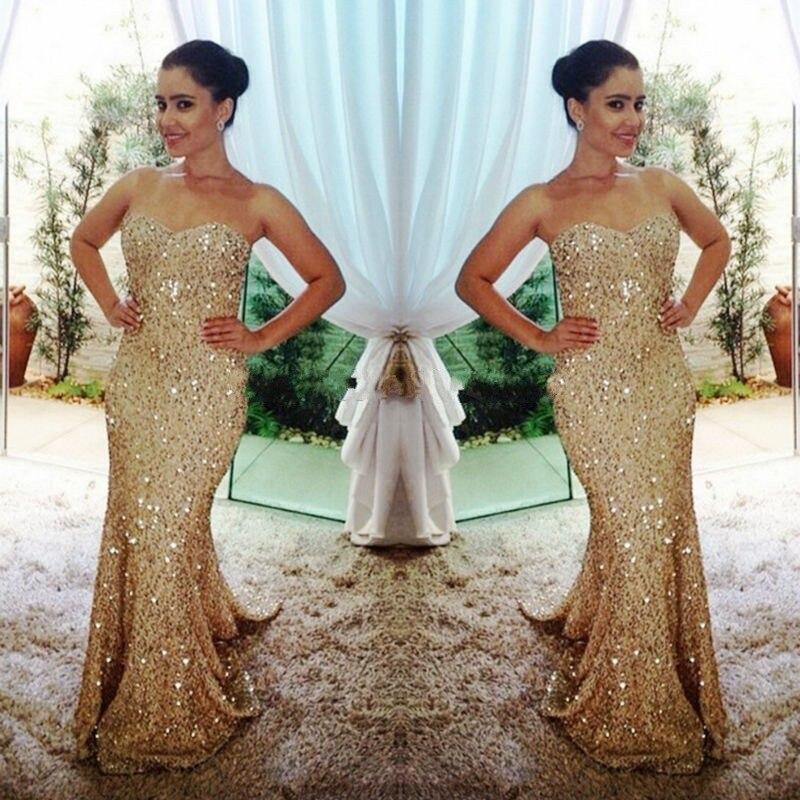 Gold Sequined Mermaid Evening Dress Crystal Beading Floor Length Dress For Weeding Party Vestidos Largos Custom Made Plus Size