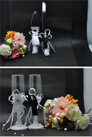 4Pcs/Set, Bride & Groom Wedding Wine Glass Wedding Cake Knife and Server Wedding Table Decoration Wedding Supplies