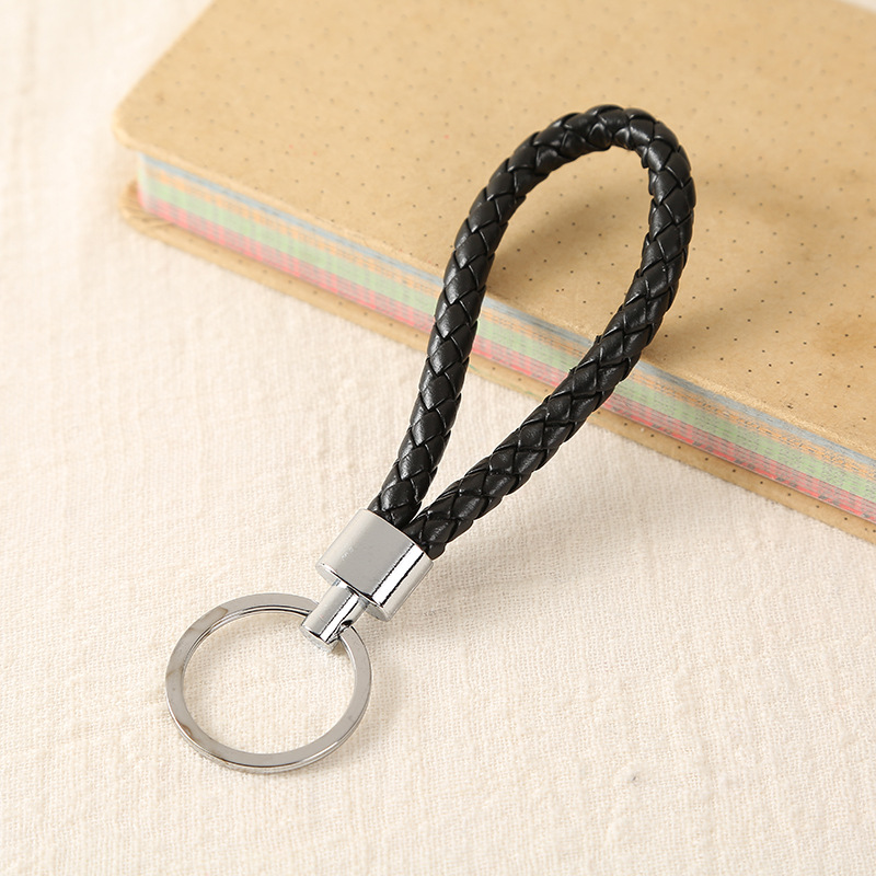 Braided Leather Rope Strap Weave Keychains Holder Silver Keyrings All Models HOT