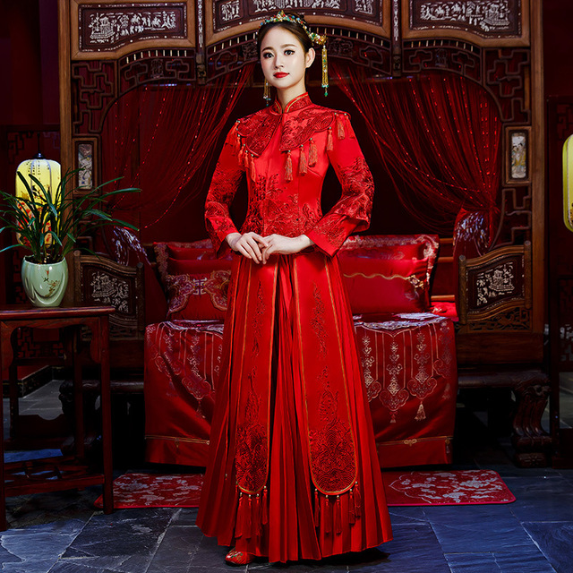 Elegant Wedding Qipao Oriental Bride Dress/Vintage Cheongsam Suit