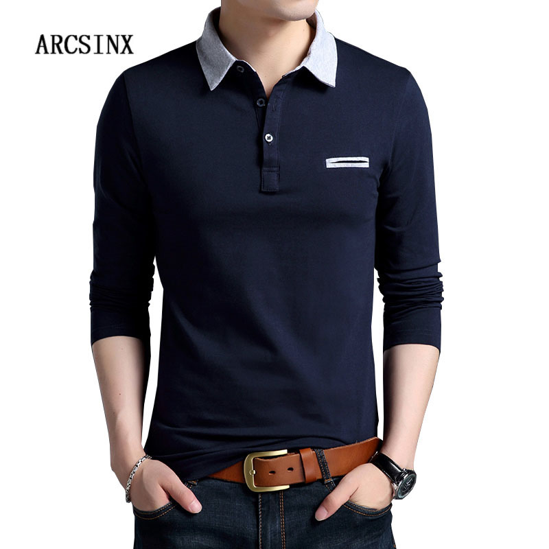 ARCSINX Long Sleeve Polo Shirt Men Fashions Solid Color Navy Blue Mens Polo Shirts Cotton Spring Autumn Tee Shirt Men's Polos