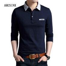 ARCSINX Polo à manches longues pour hommes, à la mode, couleur unie, en coton, bleu marine, printemps automne