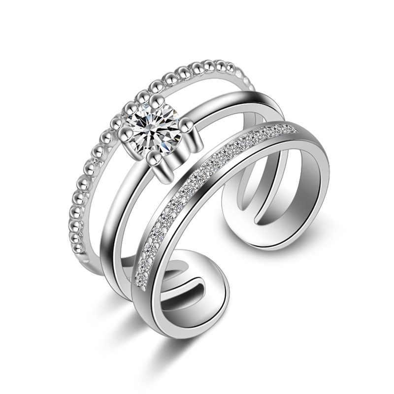 Высококачественные Новые Модные ювелирные изделия из стерлингового серебра 925 пробы, трехслойные хрустальные кольца в Корейском стиле