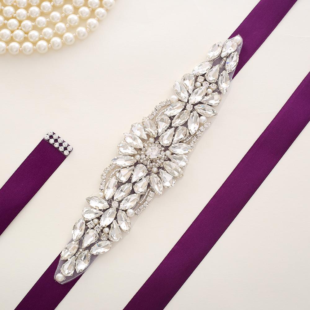 Crystal Bridal Belt Rhinestones Flower Bridal Sash Diamond Wedding Belts  For Wedding Accessories A113S