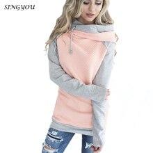 SINGYOU Autumn Women Hoodies Long Sleeve Patchwork Color Blocks Hoody Sweatshirt Casual Female Pullover Sportwear Ladies Outwear