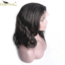 Ross Pretty Remy Brazilian Hair Body Wave 360 Lace Frontal Human Wigs Natural Black Color 1b lace front Wig