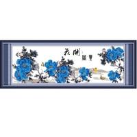 Blue Peony Flowers Big Size Traditional Chinese Style Cross Stitch Kit Embroidery Needlework Counted Cross Stitch