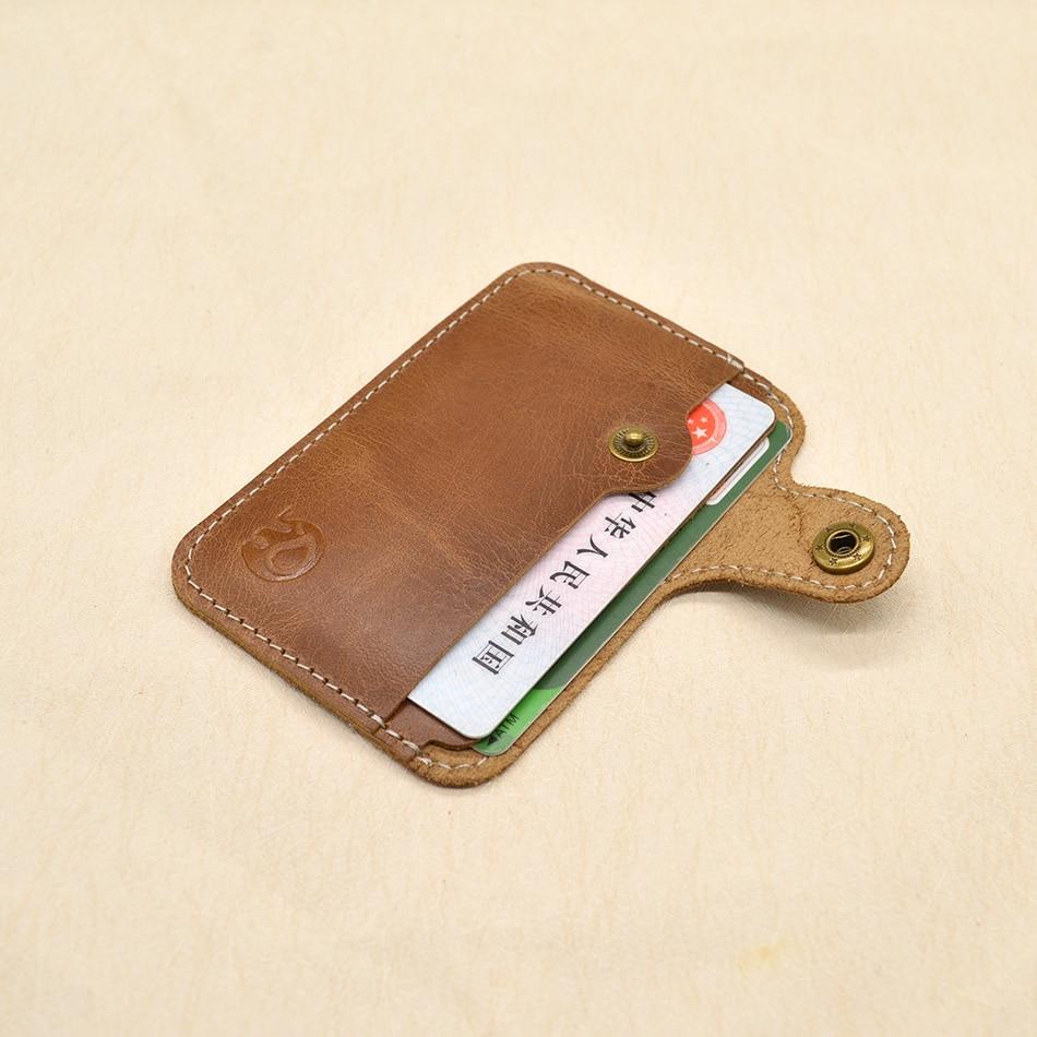 Äkta Läder Kort Hållare Män Slim Hasp Bankkort Retro Designer Kort Id Hållare Små Väska För Skydd Kreditkort