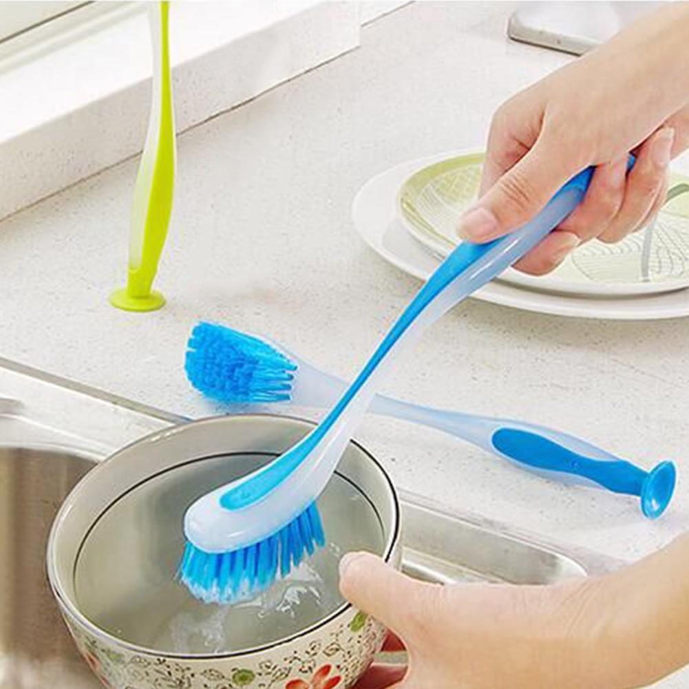Кухонная многофункциональная длинная ручка инструмент горшок домашний скраб для мытья посуды щетка для мытья посуды сковорода присоска Вертикальная Экономия пространства раковина