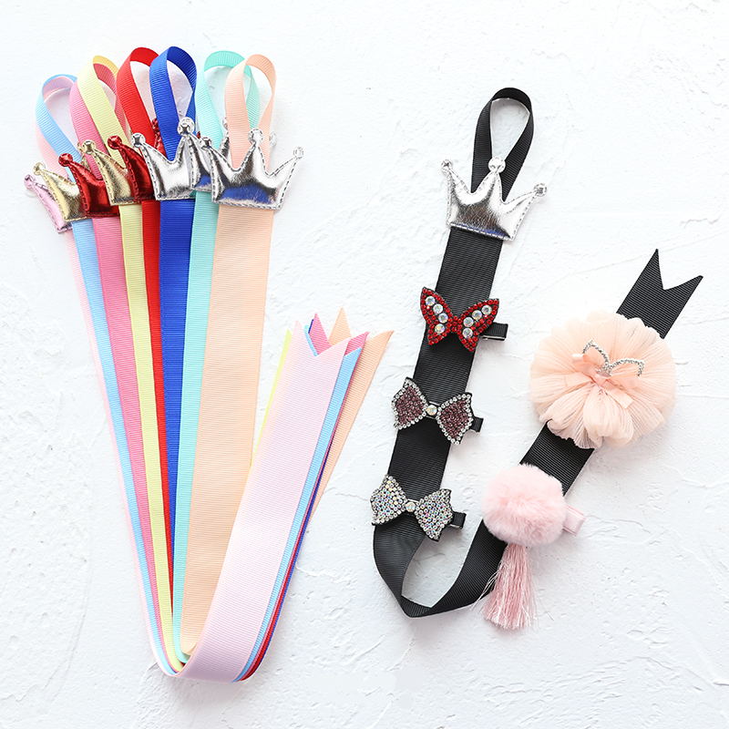 2019 Rainbow Colors Toddlers Hair Clip Storage Tape Assorted CROWN Ribbon Hairpins Holder Kids Hair Accessories Holding Band