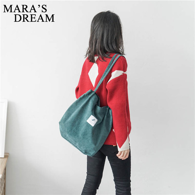 Mara's Dream High Capacity Women Corduroy Tote Ladies Casual Solid Color Shoulder Bag Foldable Reusable Women Shopping Beach Bag 1