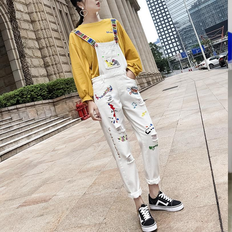 Bib jeans for woman White damage jeans woman 2019 New arrivals Sping Summer Hot Overalls Jeans Femme XS S M L XL XXL MIXED SIZES