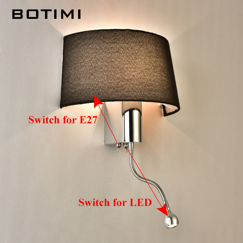BOTIMI Modern LED Wall Light With Fabric Lampshade For Bedroom Bedside Applique murale luminaire LED Warm Light Wall Sconce