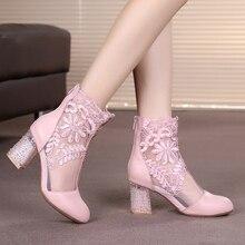 2016 más nuevas Summer chunky tacones altos señalaron botas con cordones ahueca hacia fuera malla transpirable espalda cremallera de las mujeres botas de diseñador de moda