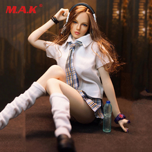 1/6 Scale Female Student Clothes Set Shirt Tie Plaid Skirt Stockings for 12 inches PH UD JO Body Figures