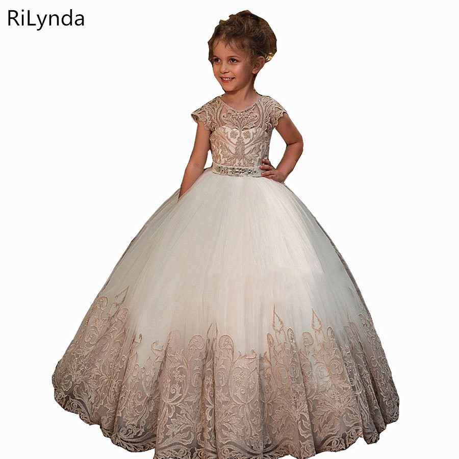 NEW   Flower     Girl     Dresses   With Bow Beaded Crystal Lace Up Applique Ball Gown First Communion   Dress   for   Girls   Customized Vestidos