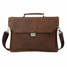 Guaranteed 100% crazy horse genuine leather 14inches laptop bags Men's Briefcase men messenger bags vintage Business bag LI-829