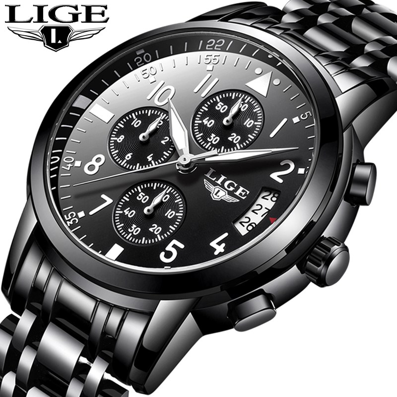 Men Watches Brand LIGE Men Sport Quartz Watch Full Steel Black Mens Watches Dress Business Fashion Waterproof Military Watc lige luxury brand men s waterproof quartz watch men watches full steel dress business fashion casual military black male clock